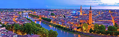 Photograph - Verona Old City And Adige River Panoramic Aerial View At Evening by Brch Photography