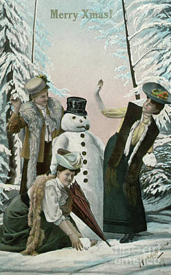 Snowy Trees Painting - Victorian Christmas Card by American School