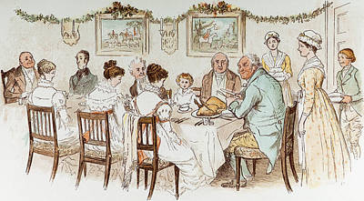 Meal Painting - Victorian Christmas Card by English School