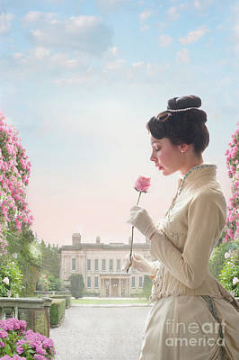 Photograph - Victorian Woman Holding A Pink Rose by Lee Avison