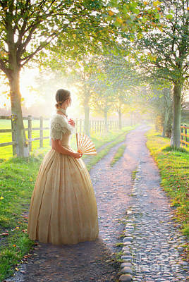 Photograph - Victorian Woman On A Rural Path At Sunset by Lee Avison
