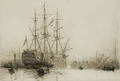 Hms Victory Painting - Victory Being Towed Into Dry Dock by William Lionel