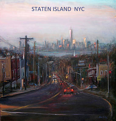 Painting - Victory Boulevard At Dusk- Staten Island Memorabilia Image by Sarah Yuster
