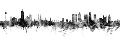 Digital Art - Vienna Austria And Atlanta Skylines Mashup by Michael Tompsett