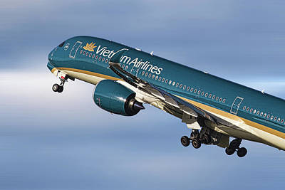 Mixed Media - Vietnam Airlines Airbus A350 by Smart Aviation