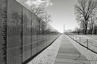 Photograph - Vietnam War Memorial With Lincoln Memorial In Background by Brandon Bourdages