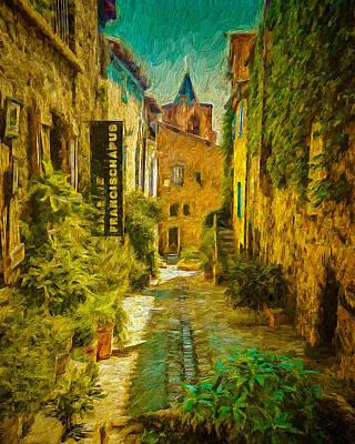 Streetscape Digital Art - Vieux Village De Grimaud by Dan Mintici