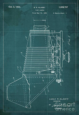 Vintage Camera Painting - View Camera Patent Year 1930 by Drawspots Illustrations