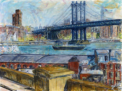 View From Brooklyn Bridge Art Print by Joan De Bot