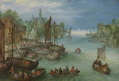 Angling Painting - View Of A City Along A River by Jan Brueghel the Elder