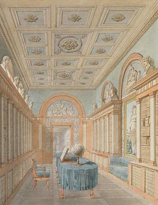 Library Painting - View Of A Grand Library by Charles Percier