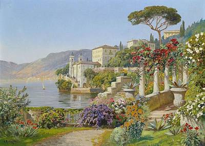 View Of A Lake In The South Art Print by Alois Arnegger