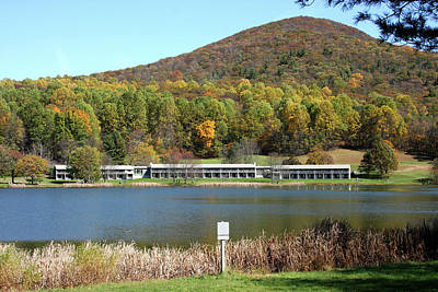 Photograph - View Of Peaks Of Otter Lodge And Abbott Lake  In Autumn by Emanuel Tanjala