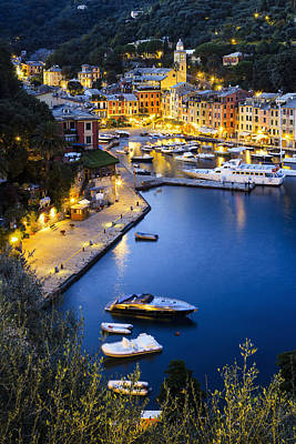 View Of The Harbour At Dusk  Portofino Art Print by Yves Marcoux