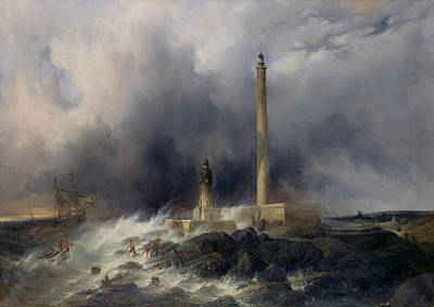 Crashing Wave Painting - View Of The Lighthouse At Gatteville by Jean Louis Petit