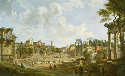 Ancient Rome Painting - View Of The Roman Forum by Giovanni Paolo Panini
