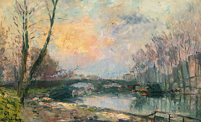 Impressionistic Landscape Painting - View Of The Seine, Paris by Albert-Charles Lebourg