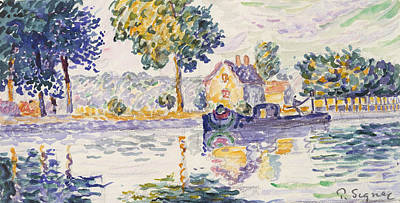 Paul Drawing - View Of The Seine, Samois by Paul Signac
