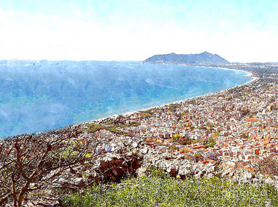Digital Art - View Of The Village's Cityscape, The Gulf To Mount Circeo by Giuseppe Cocco
