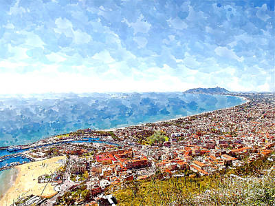 Digital Art - View Of The Village's Cityscape With Port And The Gulf To Mount Circeo by Giuseppe Cocco