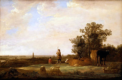 View On A Plain Print by Aelbert Cuyp