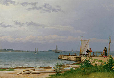 Painting - View Towards Koster From The Jetty At Kallehave by Christoffer Wilhelm Eckersberg