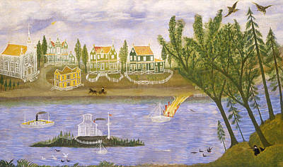 Painting - Village By The River by American 19th Century