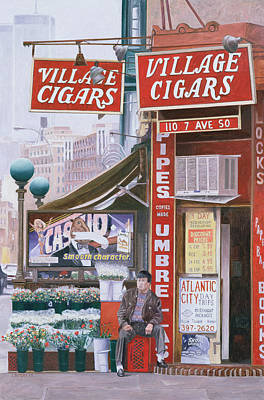 Urban Store Painting - Village Cigars by Anthony Butera
