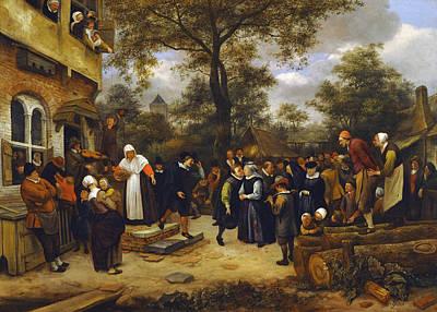 Violin Painting - Village Wedding by Jan Steen