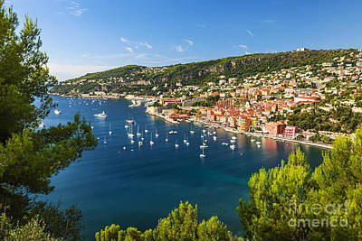 Villefranche-sur-mer And Cap De Nice On French Riviera Art Print by Elena Elisseeva