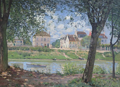 Green And Blue Painting - Villeneuve La Garenne by Alfred Sisley