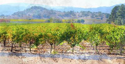 Vineyard Digital Art - Vineyard In The Fall by Brandon Bourdages