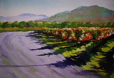 Napa Valley Vineyard Painting - Vineyard Shadows by Becky Chappell