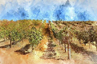 Vineyard With Blue Sky In Autumn With Vintage Film Style Filter Print by Brandon Bourdages