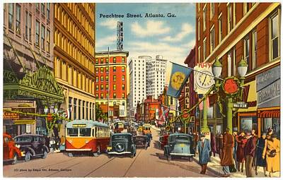 Old Street Mixed Media - Vintage Atlanta Postcard by Mountain Dreams