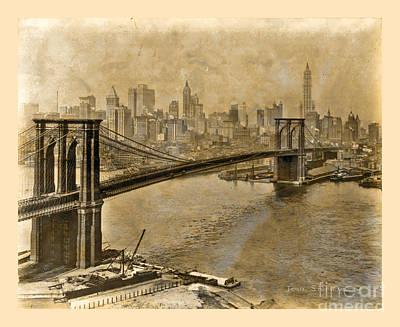 Photograph - Vintage Brooklyn Bridge To Manhattan by John Stephens