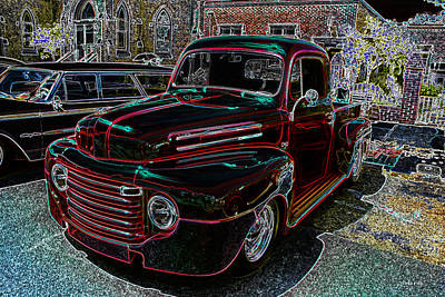 Mixed Media - Vintage Chevy Truck Neon Art by Lesa Fine