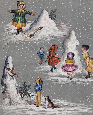Snow Shovels Painting - Vintage Christmas Card by English School