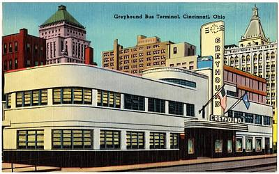 Greyhounds Mixed Media - Vintage Cincinnati Postcard by Mountain Dreams