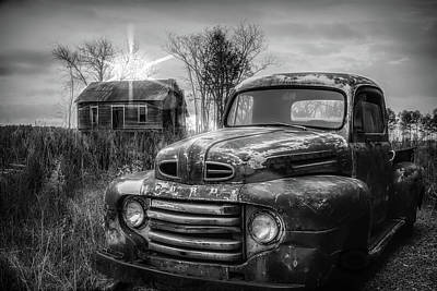 Photograph - Vintage Classic Ford Pickup Truck In Black And White by Debra and Dave Vanderlaan