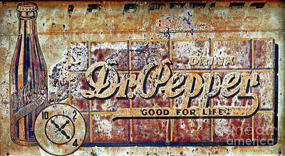 Photograph - Vintage Dr. Pepper Tin Sign by John Stephens