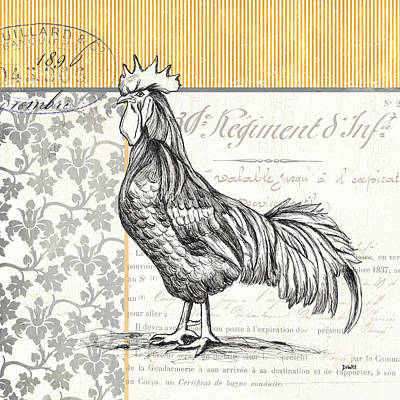 Rooster Wall Art - Painting - Vintage Farm 1 by Debbie DeWitt