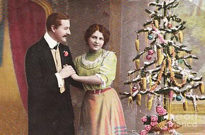 Photograph - Vintage German Christmas Postcard  by Patricia Hofmeester