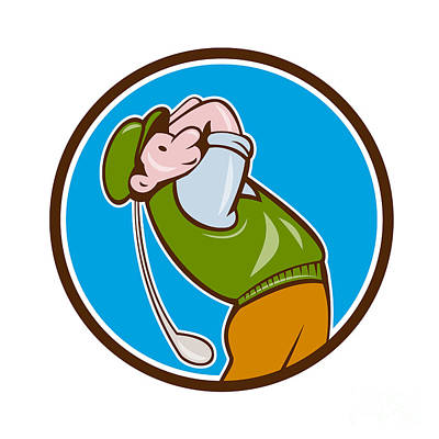 Vintage Golfer Swinging Club Teeing Off Circle  Art Print by Aloysius Patrimonio
