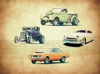 Vintage Hot Rods Print by Steve McKinzie