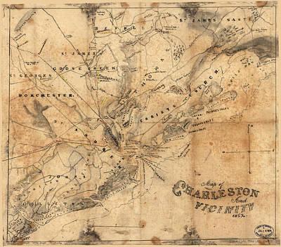Map Of Charleston Drawings  Fine Art America