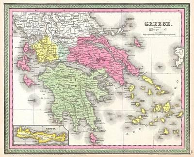 Vintage Map Of Greece  Art Print