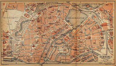 Hamburg Drawing - Vintage Map Of Hamburg Germany - 1910 by CartographyAssociates
