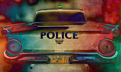 Maryland Photograph - Vintage Police Car - Baltimore, Maryland by Marianna Mills