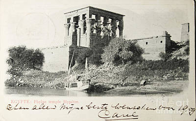 Photograph - Vintage Postcard Of Temple On Nile Bank by Patricia Hofmeester